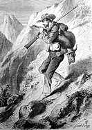 Goat hunter carrying his catch in the mountains. Andes. Ecuador. Engraving from 'Le tour du monde'