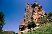 Rock formation. At the back the castle of Pelegrina town. Hoces del Rio Dulce' (Rio Dulce Sickles). Guadalajara province. Spain