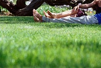 Couple relaxing on the grass under a tree (thumbnail)
