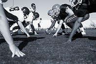 American football players in a scrimmage (thumbnail)