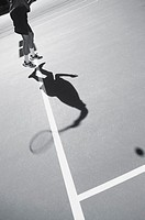 Contemporary image of a tennis player reaching for the ball (thumbnail)