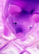 Pink pig money box with American banknotes (thumbnail)