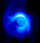 Earth´s magnetic field.  Ultraviolet image of cool plasma (ionised gas, blue) trapped in the Earth´s magnetic field.  The Earth is at centre. The smal...