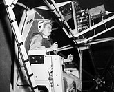 Female astronaut training  Jerrie Cobb born 1931 training  on  the MASTIF Multiple Axis Space Test Inertia Facility for the Mercury  Project     The M...