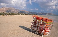 Beach chairs. Zakros. Crete. Greece