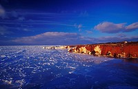 Belle Anse, Canada, North America, America, cliffs, coast, ice, frozen, Ile du Cap aux Meules, Madeleine Islands, na