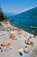 Beach in Lake Como. Santa Maria Rezzonico. Lombardy, Italy