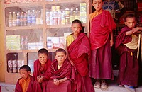 Novice Monks at Lamayuru Monastery. Ladakh. Jammu and Kashmire, India