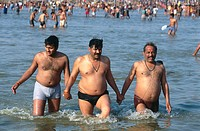 Pilgrims bathing in the Ganges. Khumb Mela Festival (2001). Allahabad, India