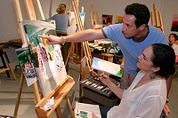 Painting class. Art Center South Florida. Lincolm Road Mall. Miami Beach. Florida. USA