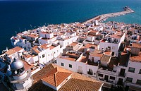 View of Pe&#241;iscola's old town and port from the castle. Castellon province. Comunidad Valenciana, Spain