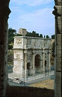 Arch of Constantine seen from the Colosseum. Rome. Italy