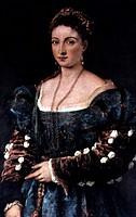 Kunst, Tizian, Vecellio Gemälde Die Schöne La Bella Florenz titian, frau, portrait, porträt, kleid mode, 15 16 17 jh, schmuck, puffärmel ärmel geschli...