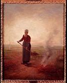 Ü Kunst, Millet, Jean Francois (4.10. 1814 - 20.1.1875), Gemälde ´Junge Bäuerin´, Museum für Schöne Künste, Genf realismus, realistisch, mistgabel, ve...