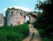 Griechenland, Nikopolis, antike Stadt, gegründet durch Kaiser Augustus 31 v. Chr., byzantinische  Stadtmauer aus dem 5. JH. n.Chr., Tor, Ansicht der R...