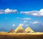 geography / travel, Egypt, Gizeh, pyramids from left, Menkaura, Chefren & Cheops 4th dynasty, approximately 2723 _ 2563 BC, in front little pyramids f...