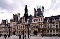 Geo. Frankreich, Paris, Gebäude, Hotel de Ville, (Rathaus), erbaut 1533 - 1628, niedergebrannt  1871, renoviert 1873 - 1882, Außenansicht             ...