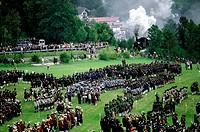 Geo., Bayern, Brauchtum, Gebirgschützen, Treffen  der Schützenkompanien, Gmund, Tegernsee 1992,  Übersicht über angetretene Kompanien   Kompanie, para...