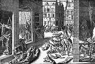 Niederlande hist.- Aufstand gegen Spanien, Greuel spanischer Soldaten in Antwerpen 4.11.1576, nach zeitgen. Stich  soldateska, kriegsverbrechen, blutb...