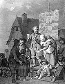 Presse hist.- Moritatensänger in Paris 1766, Kupferstich von A.L.Romanet nach Johann Konrad Seekatz  Zuschauer, Zeigestab, Zeigestock, Elend Armut, Bä...