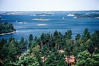Geografie, Finnland, Landschaften, Schärengarten an der schwedischen Grenze, Südfinnland   süd, schären, nadelwald wald wälder, inseln, flach