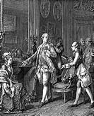 Mode hist.- 18.Jh., Frankreich, Große Toilette,  Original Xylografie 19.Jh. nach Kupferstich v.Jean Michel Moreau d.J. aus ´Monument du Costume´ 1773/...
