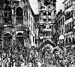 Ereignisse hist.- Revolution 1848/1849, Bayern, München, Bekanntgabe d.Verbannung v.Lola Montez und Öffnung d.Universität, 12.2.1848, zeitgen. Zeichnu...