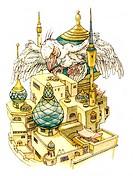 Literatur hist.- Märchen, 1001 Nacht, ´Die Geschichte vom Magnetberg´, Illustration von Martin und Ruth Koser-Michaels, 1953 koser michaels, 1953, col...
