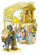 Literatur hist.- Märchen, 1001 Nacht, ´Die Geschichte vom Neger, der einen Apfel nahm´, Illustration von Martin und Ruth Koser-Michaels, 1953, koser m...