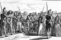 Ereignisse hist.- Siebenjähriger Krieg 1756 - 1763, Kriegsgefangene, gefangene russische Soldaten  erhalten Gaben von den Berlinern, Radierung von  Da...