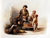 c. Handel hist.- Kastanienbrater in Venedig, Druck nach Gemälde von Luigi Terrazzi um 1820,  Aquarell & Deckfarben auf Papier  Straßenhändler, Kastani...