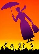 col. Film,´Mary Poppins´, USA 1964, Regie: Robert Stevenson, Zeichentrick, Artwork   fliegende frau mit regenschirm, schornsteinfeger, kaminkehrer