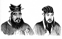 Konfuzius (Kong fuzi)  551 - 478 v.Chr. - 478 v.Chr, chin. Philisoph, mit seinem Schüler Meng Tse (r.), nach chinesischem Holzschnitt eig. Kong Qiu, s...