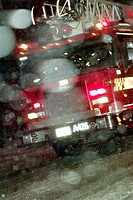 Fire truck in snow storm