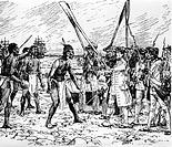 Cook, James, 27.10.1728 - 14.2.1779, engl.  Seefahrer & Entdeckers, 3. Reise 1776 - 1780,  seine Mannschaft im Streit mit Eingeborenen auf Hawaii 1779...