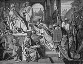 Karl I. ´der Große´, 2.4.742 - 28.1.814, Röm. Kaiser  seit 800, König der Franken seit 771, empfängt die Gesandten von Kalif Harun al-Raschid, Histori...
