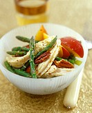 Chicken and asparagus salad with nectarines and pecans