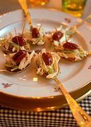 Appetiser: Waldorf salad on festive spoons