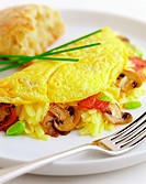 Omelette with cheese, mushrooms and bacon