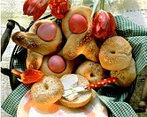Greek Easter bows with Easter eggs, bagels with butter