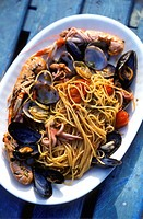 Spaghetti with tomatoes and seafood
