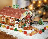 A Gingerbread House with Lights