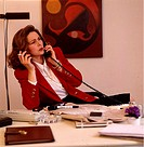 Businesswoman, desk, telephone, cigarette, gesture, smokes, skeptically, office employees, work, works, telephones, telecommunication, woman