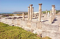 Ruins of basilica in the old roman city of Baelo Claudia (II BC). Tarifa. Cadiz province. Spain