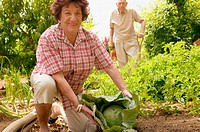 Older couple in vegetable plot