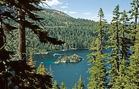 Lake Tahoe, Emerald Bay, Emerald Island, tour boat in summer. California. USA