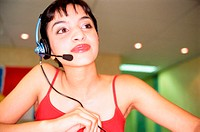 Receptionist with microphone