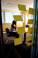 Door with large post-its