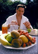 breakfast, desk, food, fruit, healthy, Man, outside, sitting, table, Wellness