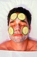 Beauty, beauty, belle, care, cream, cucumbers, face, facial care, Man, mask